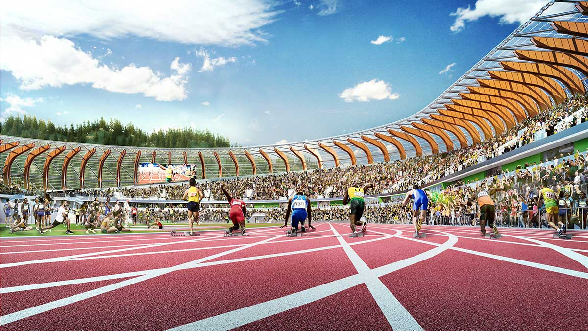 Rendering of sprinters on the track with full stands at Hayward Field