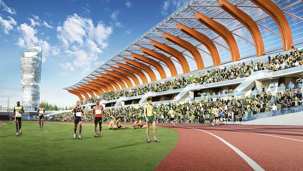 Rendering of Hayward Field with the Bowerman Tower in the background