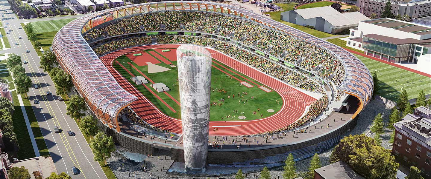 Rending of new Hayward Field design