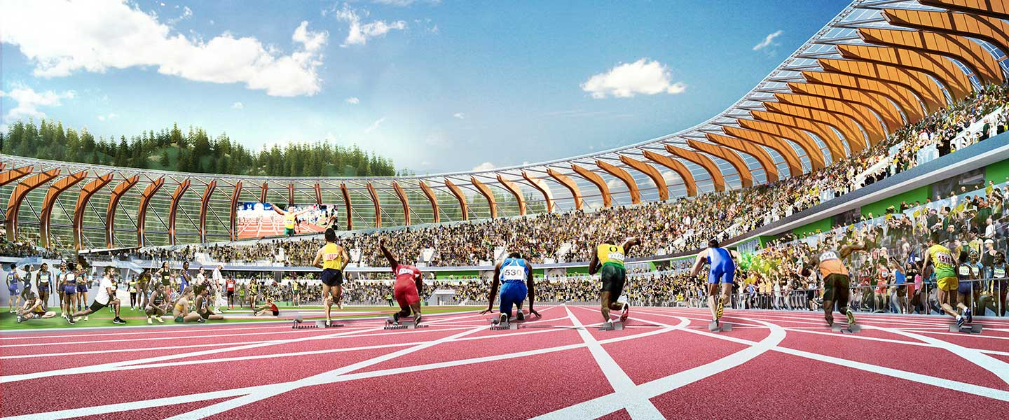Rendering of sprinters on the track at Hayward Field