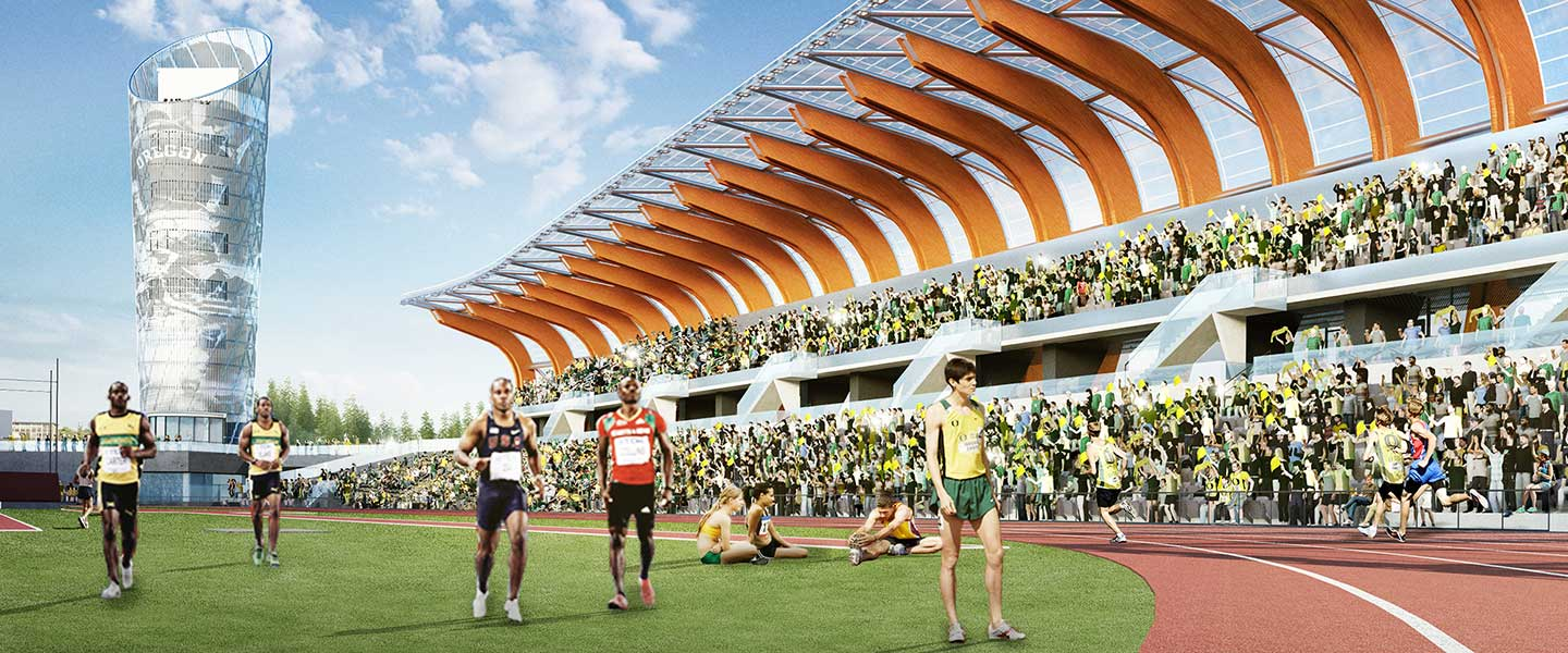 Rendering of Hayward Field with the Oregon Tower in the background