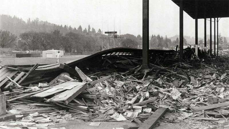 The gutted west grandstand at Hayward Field during 1975 renovation