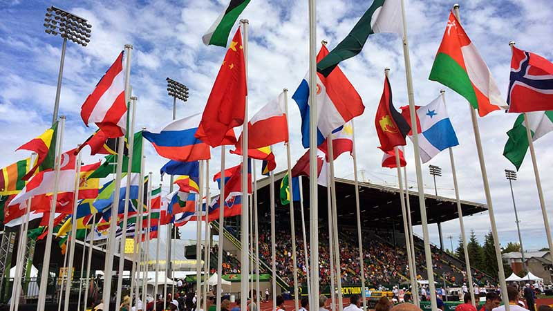 Flags flying over Hayward Field during the IAAF World Junior Championships in 2014
