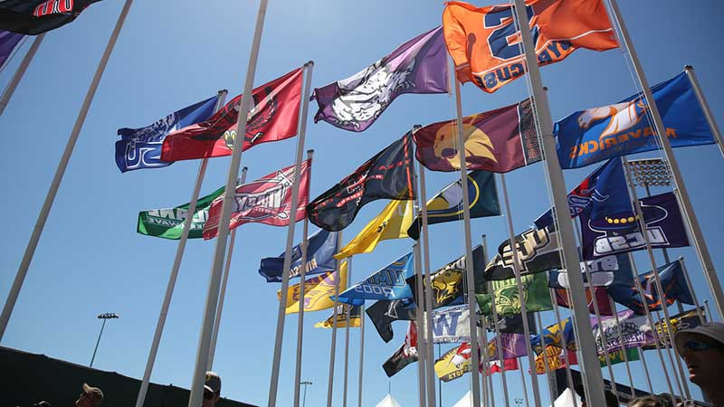 Flags from participating universities flying over Hayward Field during the NCAA Championships