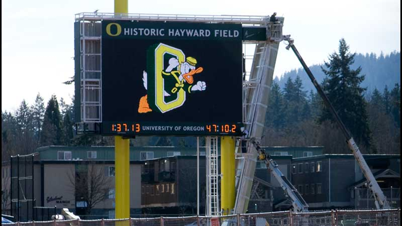 New scoreboard at Hayward Field