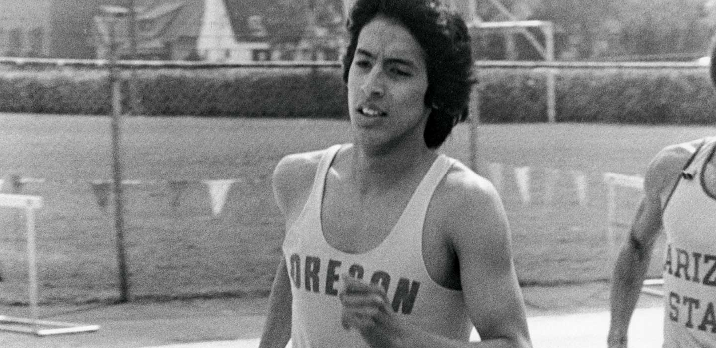 Rudy Chapa during a 1977 race at Hayward Field