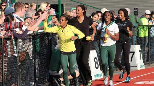 University of Oregon women's 4 x 100 meter relay team taking their victory lap at the Oregon Twilight on May 5, 2012 at Hayward Field