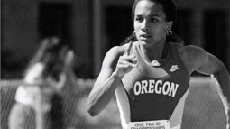 Sprinter Camara Jones winning the 400 meters during the Pac-10 Conference championships at Hayward Field in 1992