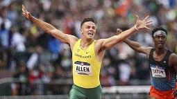 Devon Allen winning the 2016 Olympic Trials in the 110-meter hurdles