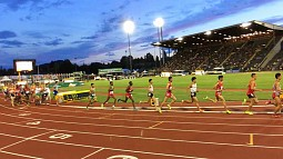 Athletes running around the track at Hayward Field during the IAAF World Junior Championships in 2014